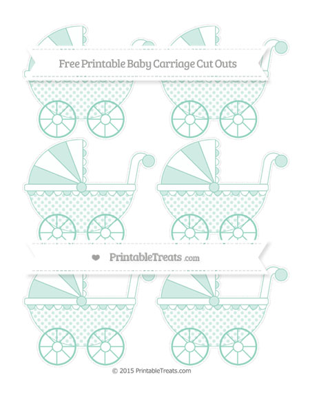 Free Pastel Green Polka Dot Small Baby Carriage Cut Outs