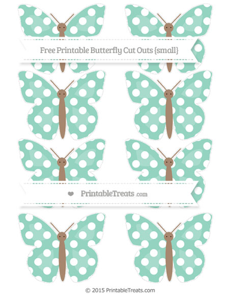 Free Pastel Green Polka Dot Small Butterfly Cut Outs