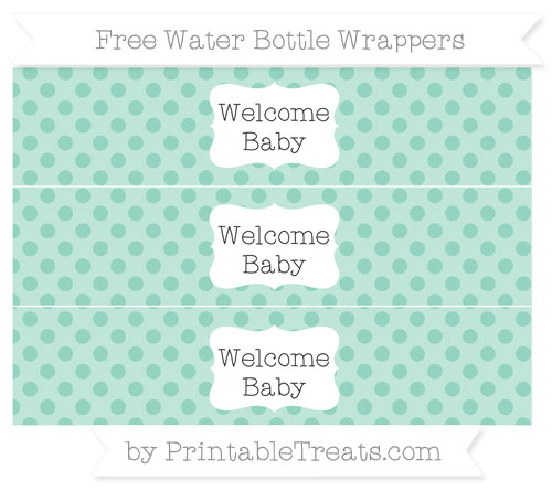 Free Pastel Green Polka Dot Welcome Baby Water Bottle Wrappers