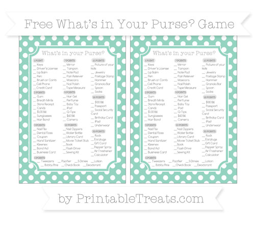 Free Pastel Green Polka Dot What's in Your Purse Baby Shower Game