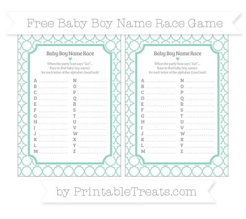 Free Pastel Green Quatrefoil Pattern Baby Boy Name Race Game