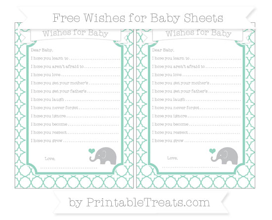 Free Pastel Green Quatrefoil Pattern Baby Elephant Wishes for Baby Sheets