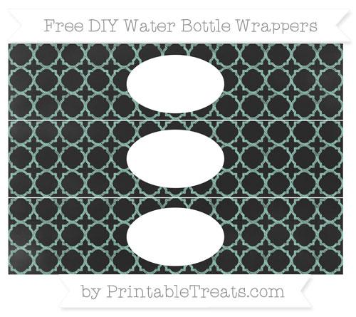 Free Pastel Green Quatrefoil Pattern Chalk Style DIY Water Bottle Wrappers