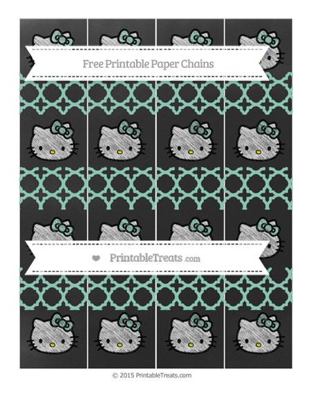 Free Pastel Green Quatrefoil Pattern Chalk Style Hello Kitty Paper Chains