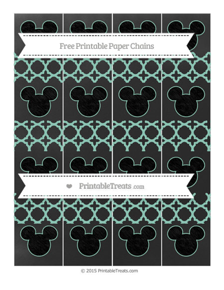 Free Pastel Green Quatrefoil Pattern Chalk Style Mickey Mouse Paper Chains