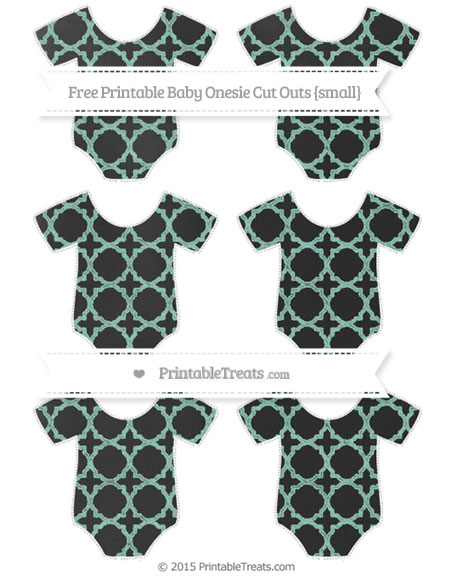 Free Pastel Green Quatrefoil Pattern Chalk Style Small Baby Onesie Cut Outs