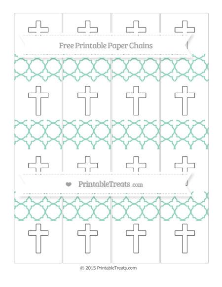 Free Pastel Green Quatrefoil Pattern Cross Paper Chains