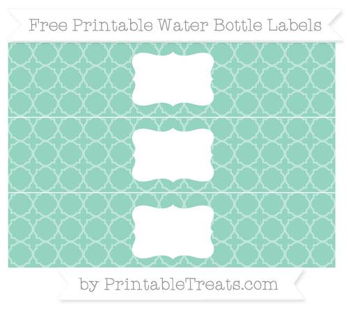 Free Pastel Green Quatrefoil Pattern Water Bottle Labels