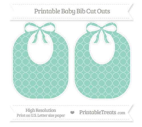 Free Pastel Green Quatrefoil Pattern Large Baby Bib Cut Outs