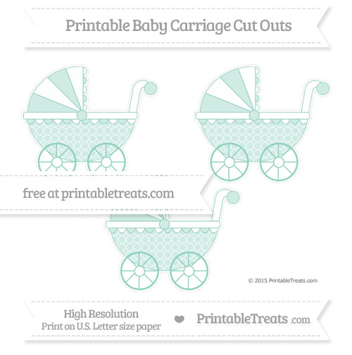 Free Pastel Green Quatrefoil Pattern Medium Baby Carriage Cut Outs