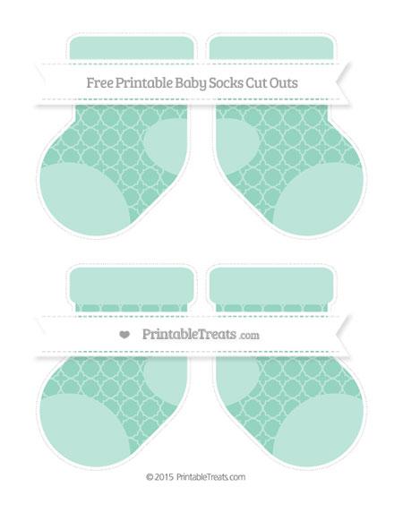 Free Pastel Green Quatrefoil Pattern Medium Baby Socks Cut Outs