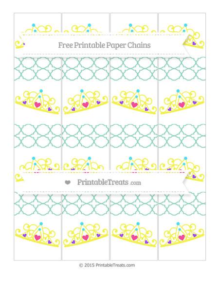 Free Pastel Green Quatrefoil Pattern Princess Tiara Paper Chains