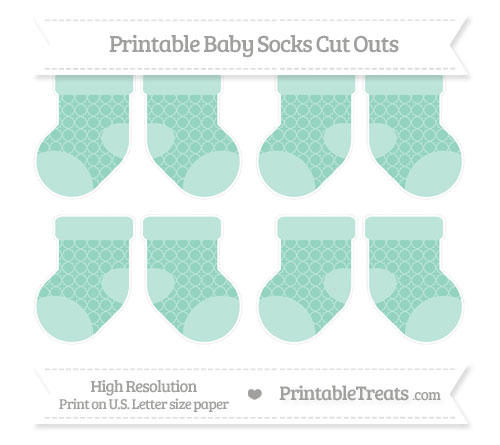 Free Pastel Green Quatrefoil Pattern Small Baby Socks Cut Outs