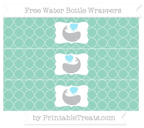 Free Pastel Green Quatrefoil Pattern Whale Water Bottle Wrappers