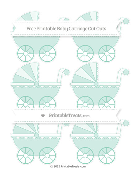 Free Pastel Green Small Baby Carriage Cut Outs