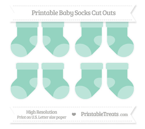 Free Pastel Green Small Baby Socks Cut Outs