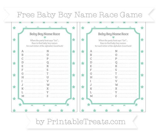Free Pastel Green Star Pattern Baby Boy Name Race Game