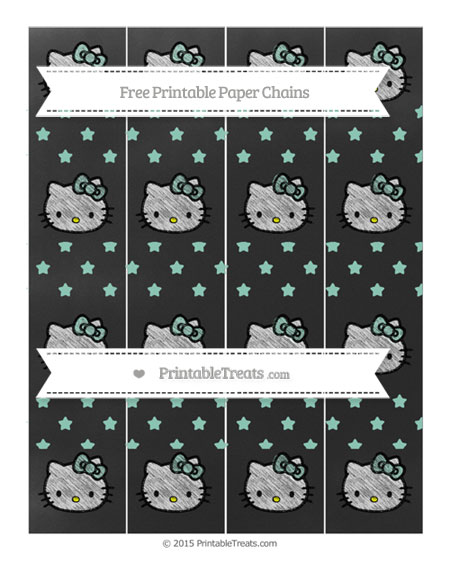 Free Pastel Green Star Pattern Chalk Style Hello Kitty Paper Chains