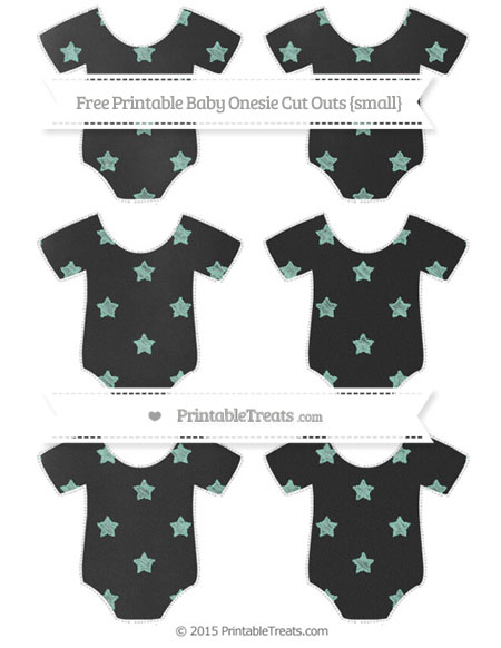 Free Pastel Green Star Pattern Chalk Style Small Baby Onesie Cut Outs