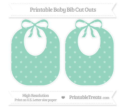 Free Pastel Green Star Pattern Large Baby Bib Cut Outs