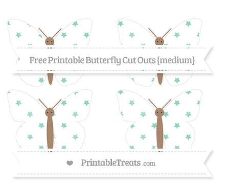 Free Pastel Green Star Pattern Medium Butterfly Cut Outs