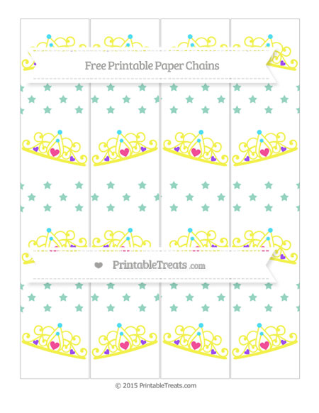 Free Pastel Green Star Pattern Princess Tiara Paper Chains