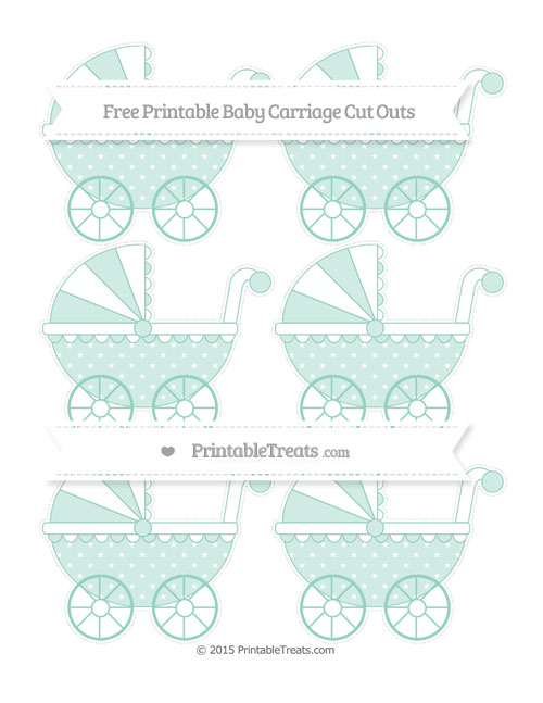 Free Pastel Green Star Pattern Small Baby Carriage Cut Outs