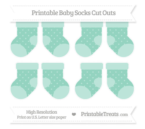 Free Pastel Green Star Pattern Small Baby Socks Cut Outs