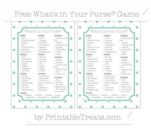 Free Pastel Green Star Pattern What's in Your Purse Baby Shower Game