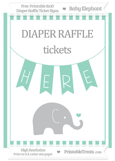 Free Pastel Green Striped Baby Elephant 8x10 Diaper Raffle Ticket Sign