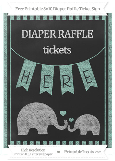 Free Pastel Green Striped Chalk Style Elephant 8x10 Diaper Raffle Ticket Sign