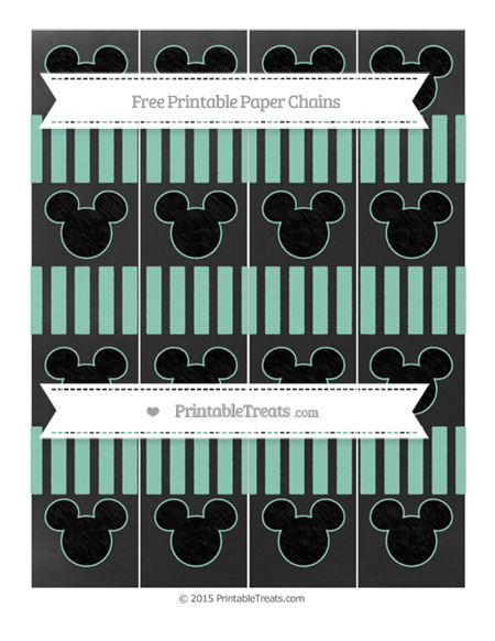 Free Pastel Green Striped Chalk Style Mickey Mouse Paper Chains