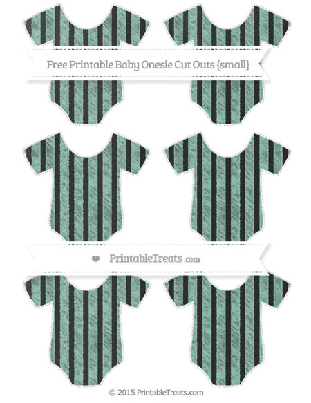 Free Pastel Green Striped Chalk Style Small Baby Onesie Cut Outs