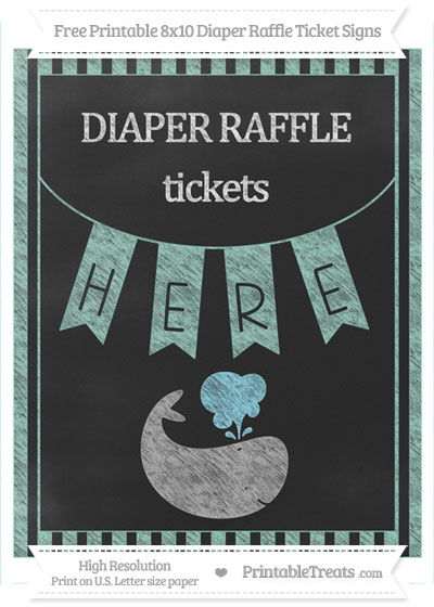 Free Pastel Green Striped Chalk Style Whale 8x10 Diaper Raffle Ticket Sign