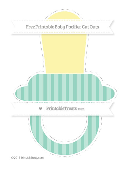 Free Pastel Green Striped Extra Large Baby Pacifier Cut Outs