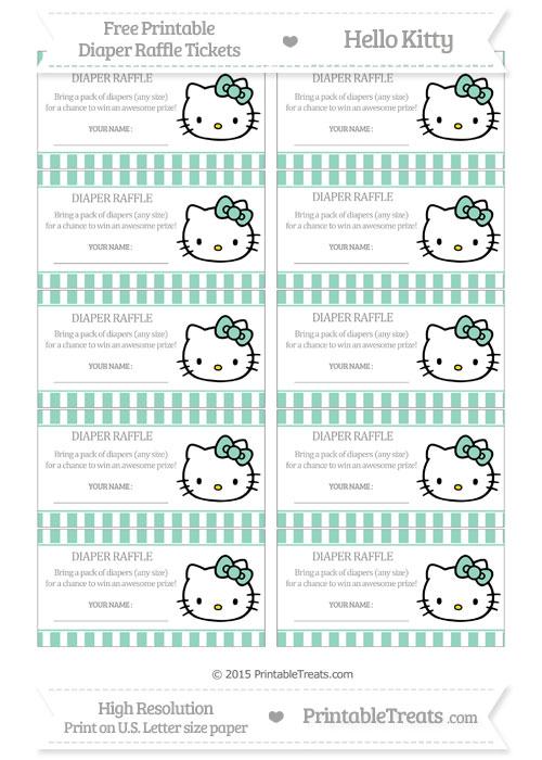 Free Pastel Green Striped Hello Kitty Diaper Raffle Tickets