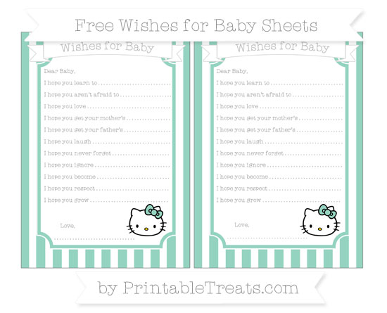Free Pastel Green Striped Hello Kitty Wishes for Baby Sheets