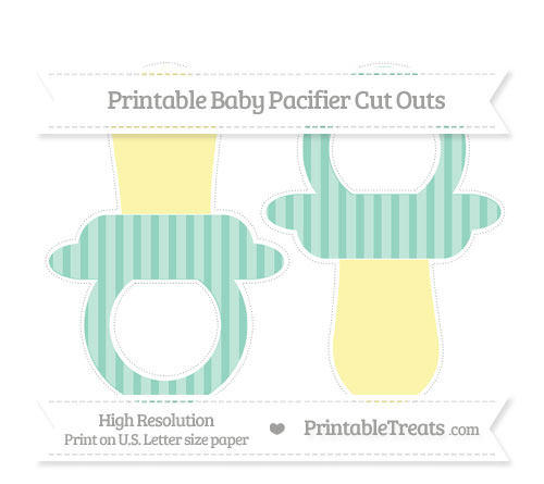Free Pastel Green Striped Large Baby Pacifier Cut Outs