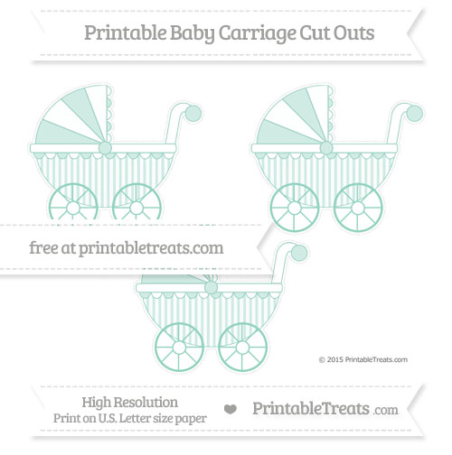 Free Pastel Green Striped Medium Baby Carriage Cut Outs