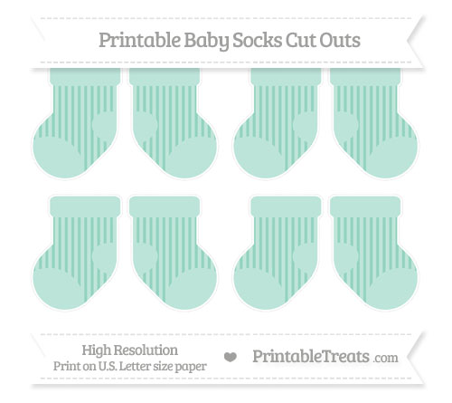 Free Pastel Green Striped Small Baby Socks Cut Outs