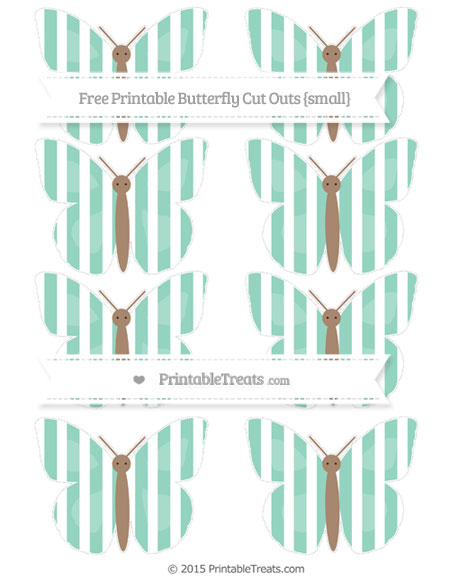 Free Pastel Green Striped Small Butterfly Cut Outs