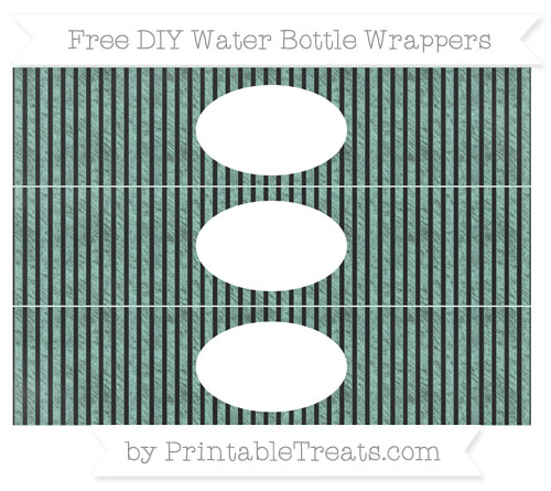 Free Pastel Green Thin Striped Pattern Chalk Style DIY Water Bottle Wrappers