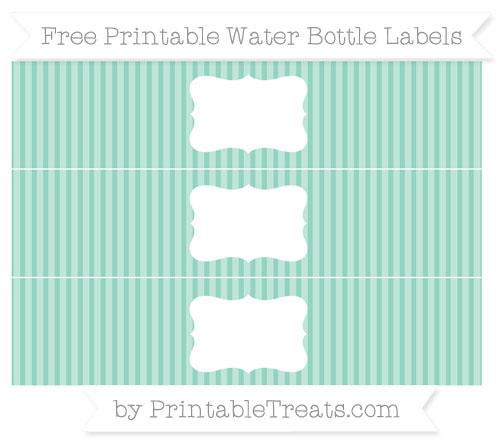 Free Pastel Green Thin Striped Pattern Water Bottle Labels