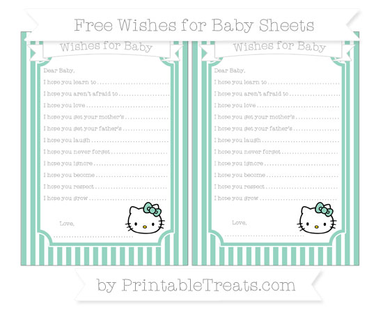 Free Pastel Green Thin Striped Pattern Hello Kitty Wishes for Baby Sheets