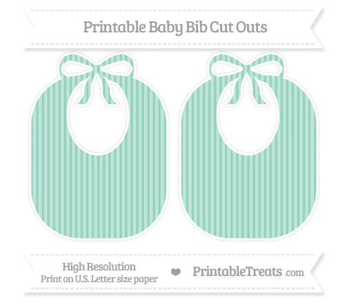 Free Pastel Green Thin Striped Pattern Large Baby Bib Cut Outs