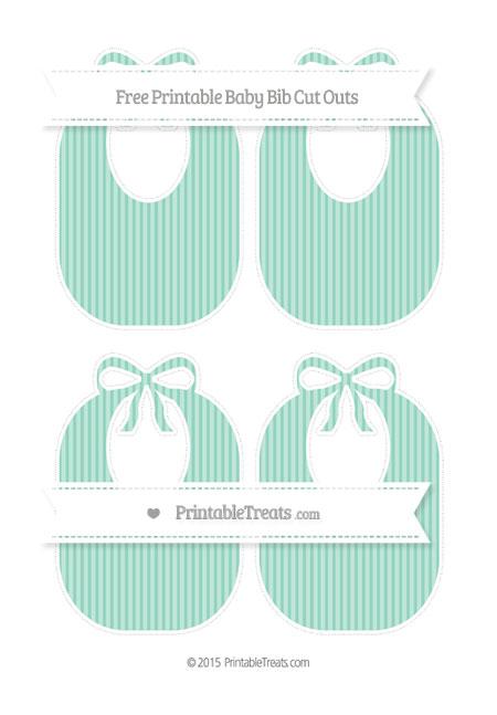 Free Pastel Green Thin Striped Pattern Medium Baby Bib Cut Outs
