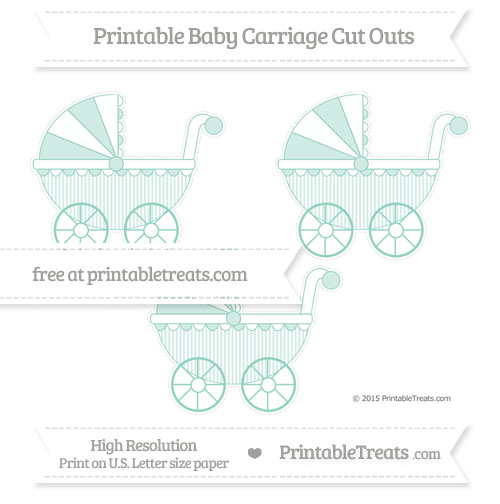 Free Pastel Green Thin Striped Pattern Medium Baby Carriage Cut Outs