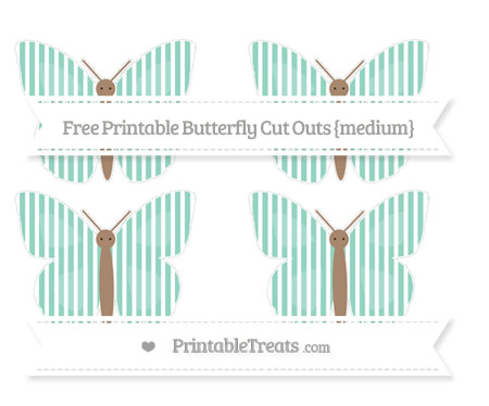 Free Pastel Green Thin Striped Pattern Medium Butterfly Cut Outs