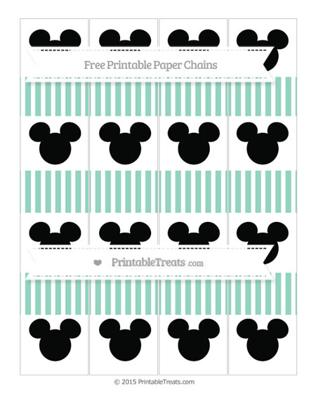 Free Pastel Green Thin Striped Pattern Mickey Mouse Paper Chains