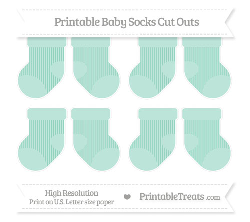 Free Pastel Green Thin Striped Pattern Small Baby Socks Cut Outs